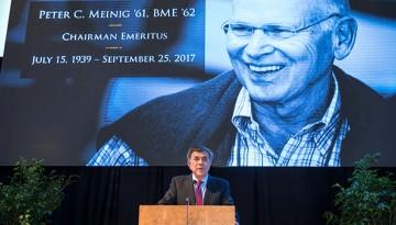 Robert Harrison speaks at memorial service for Peter Meinig