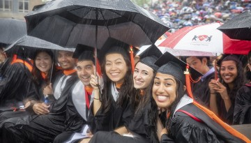 students in rain