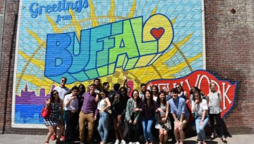 Students in the High Road fellowship program pose for a photo in Buffalo