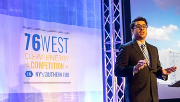 Gabriel G. Rodr�guez-Calero, Ph.D. '14, pitches Ecolectro, a startup he co-founded, at the 76West Clean Energy Competition