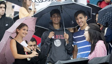 new students gathered in Schoellkopf Field for Convocation