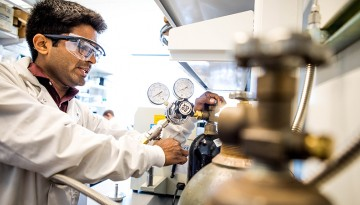 Dimensional Energy engineer Mihir Gada in the company's laboratory at the McGovern Center incubator