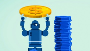 robot with money