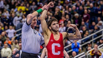 Sophomore Yianni Diakomihalis is declared NCAA national champion March 23 in Pittsburgh.