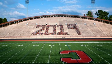 Students spell out 2019 in Schoellkopf Field