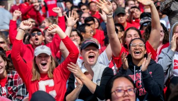 The crowd cheers during the 2018 Homecoming game at Schoellkopf Field.