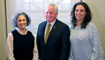 New York State Partners in Policymaking graduates Leslie Feinberg, left, and Ashley Gazes, right, are pictured with state Assemblyman Charles Lavine, D-13th