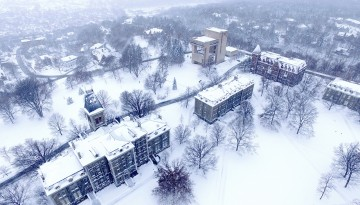 A view of campus via drone camera.