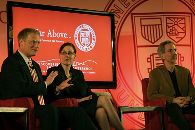 From left, Brian Wansink, Valerie Reyna and Thomas Gilovich examine the nature of decision making.