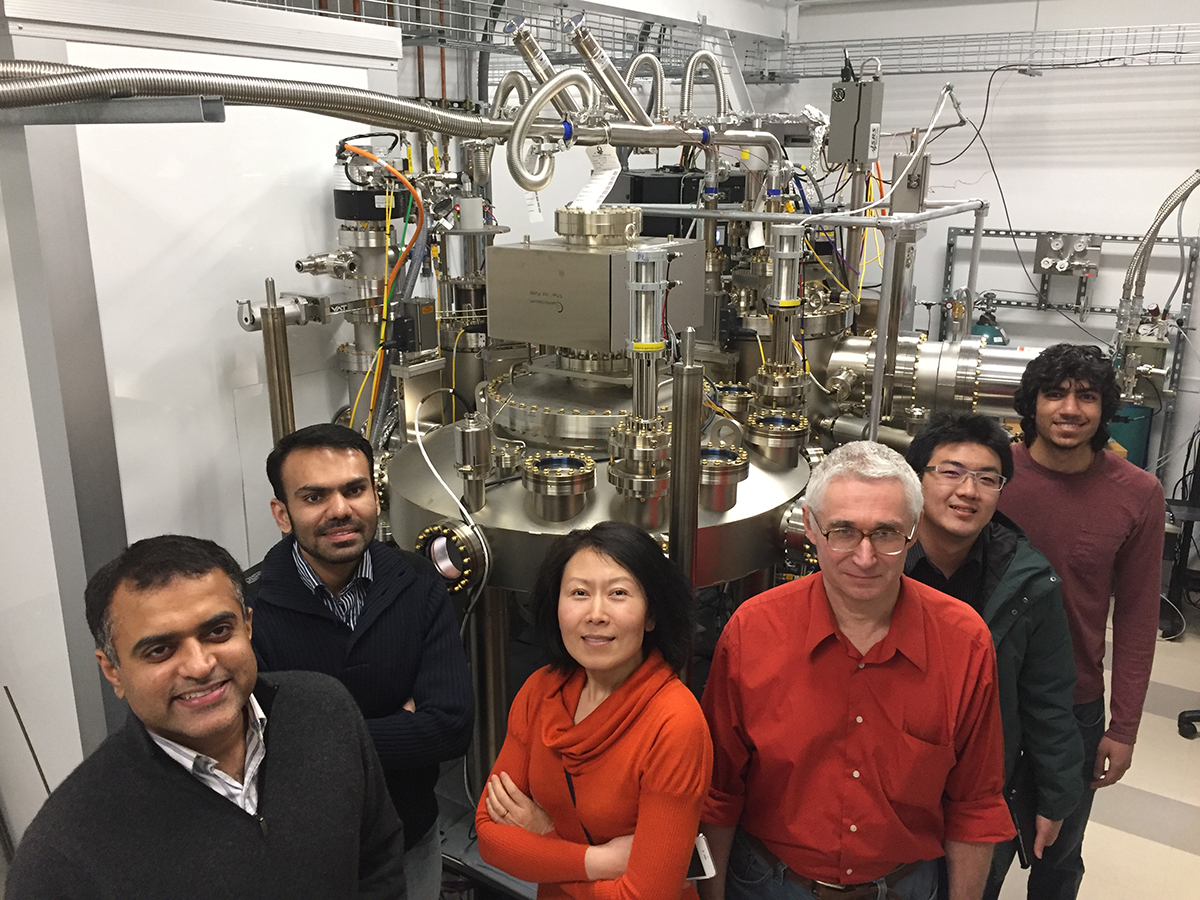 Members of the Cornell research group led by Huili (Grace) Xing and Debdeep Jena