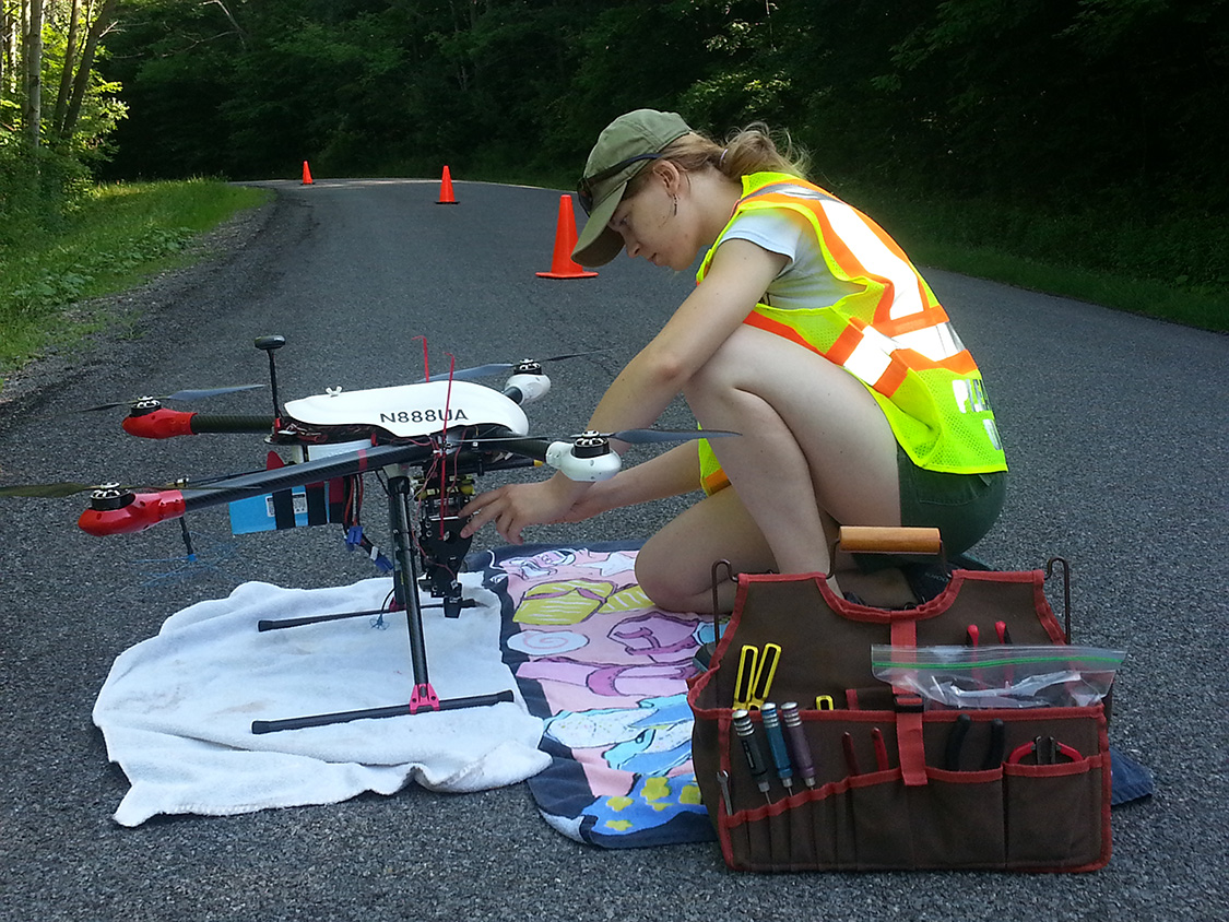 Charlotte Levy examines a drone