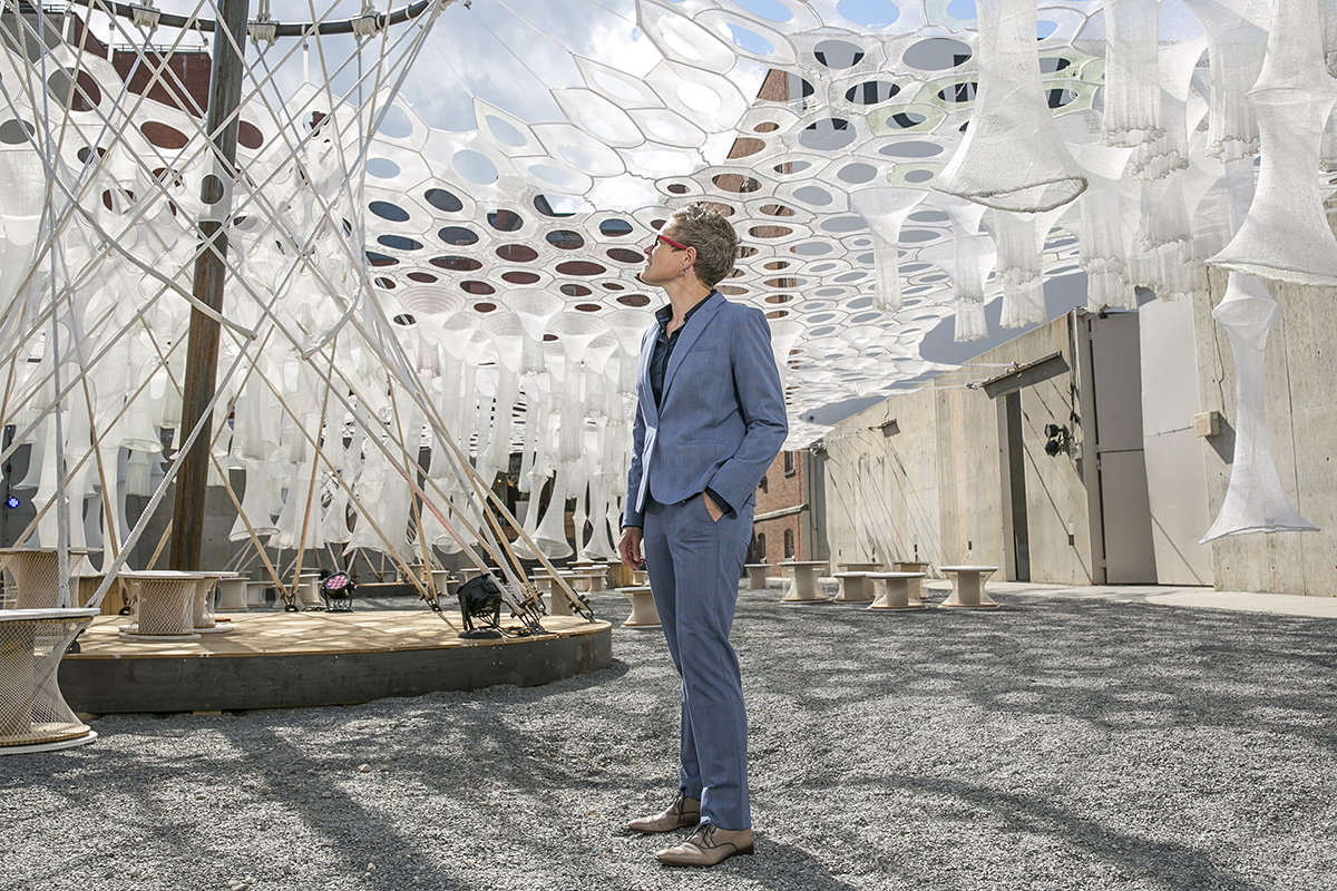 "Jenny Sabin with her ""Lumen"" installation"