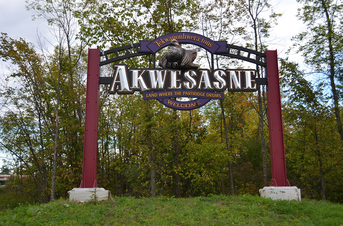 Welcome to Akwesasne sign