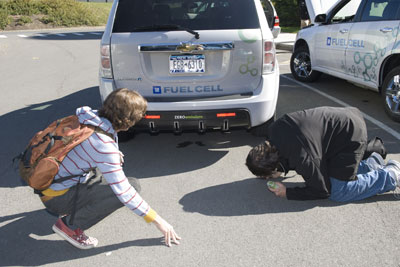 Car companies bring fuel-cell cars to campus for test drives