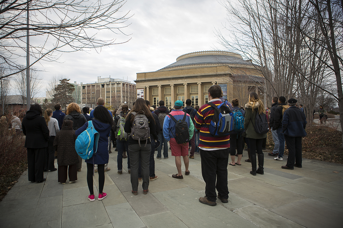 Community gathers outside Bailey Hall