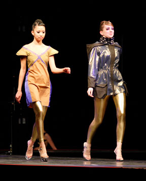 student fashions on runway