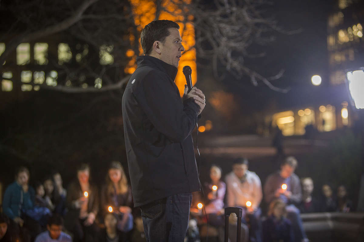 Lombardi at candlelight vigil