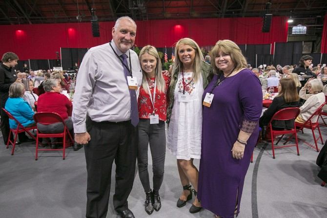 John Durbin (far left) and Cindy Durbin (far right) both celebrate 35 years of service with their daughters Caitlyn Durbin and Jenna Graham.