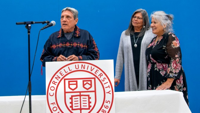 from left father Jose Barreiro, Tribal Chief Beverly Cook and wife Katsi Cook