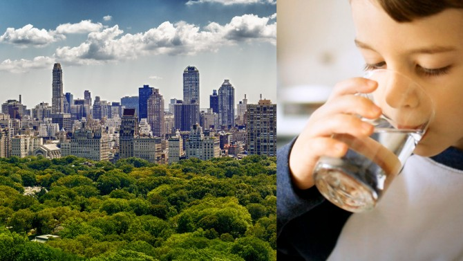 Side-by-side images of the New York City skyline and a young boy drinking water