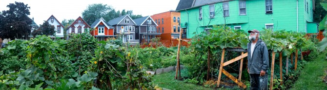 A panoramic image of a Buffalo neighborhood
