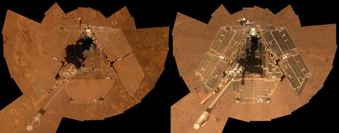 Dust covers Opportunity