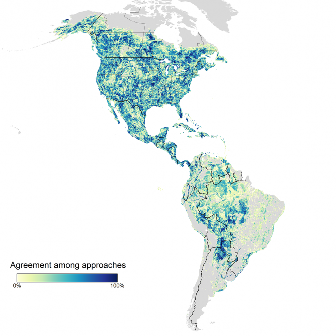 a map shows the most important locations for conserving the population of birds