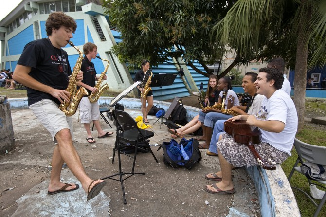 Members of the Cornell Wind Ensemble with students in Costa Rica