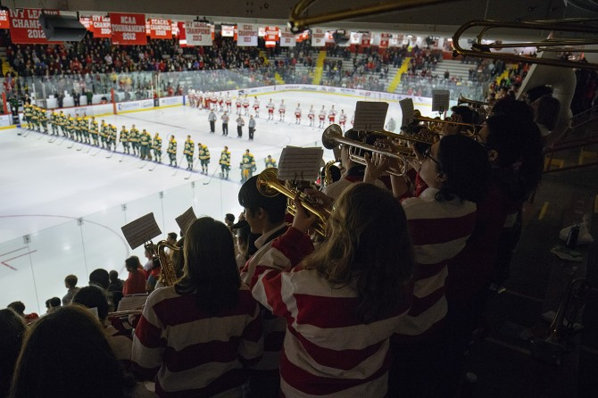 Big Red Pep Band plays at the Cornell Hockey game