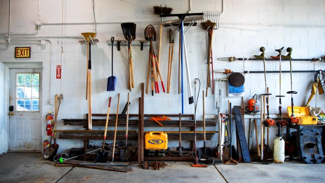 Garage with tools on wall