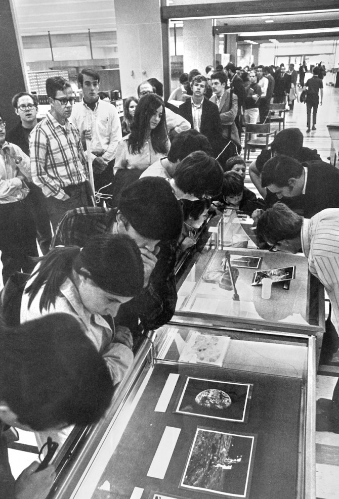 the line at Olin Library stretches to the door in September 1969