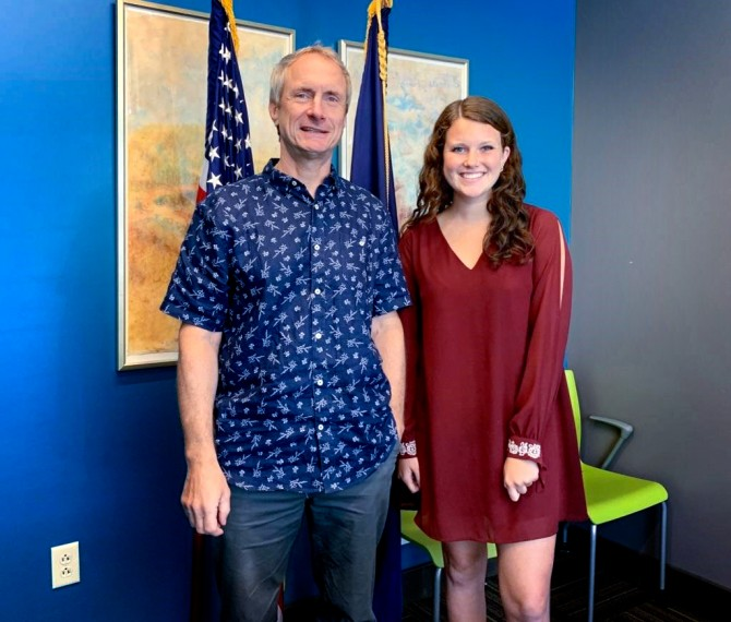 Emily Blanchard '21 is pictured with Assemblyman Sean Ryan