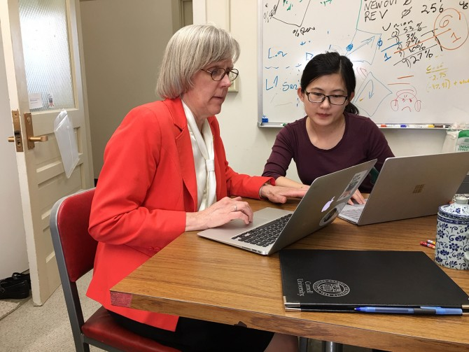 Mildred Warner with postdoc Xue Zhang