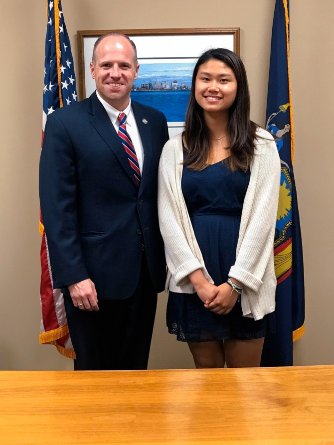Wendy Lau '22 is pictured with state Sen. Tim Kennedy