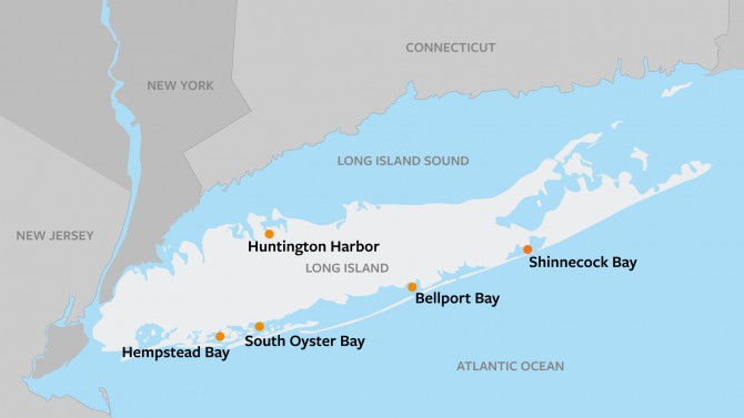 Map of shellfish sanctuary sites on Long Island, New York