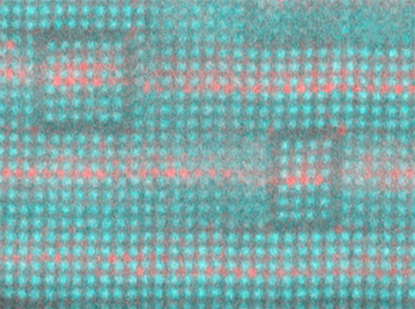 This layered structure of strontium (not colored), barium (red) and titanium (teal) is a a tunable dielectric that can improve the performance of high-frequency electronics