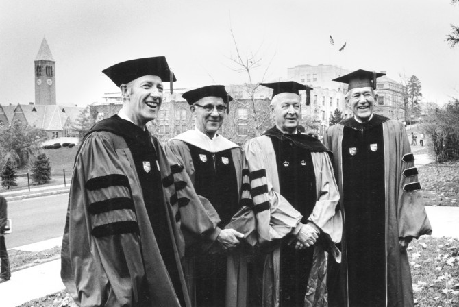 Rhodes with past presidents in 1977