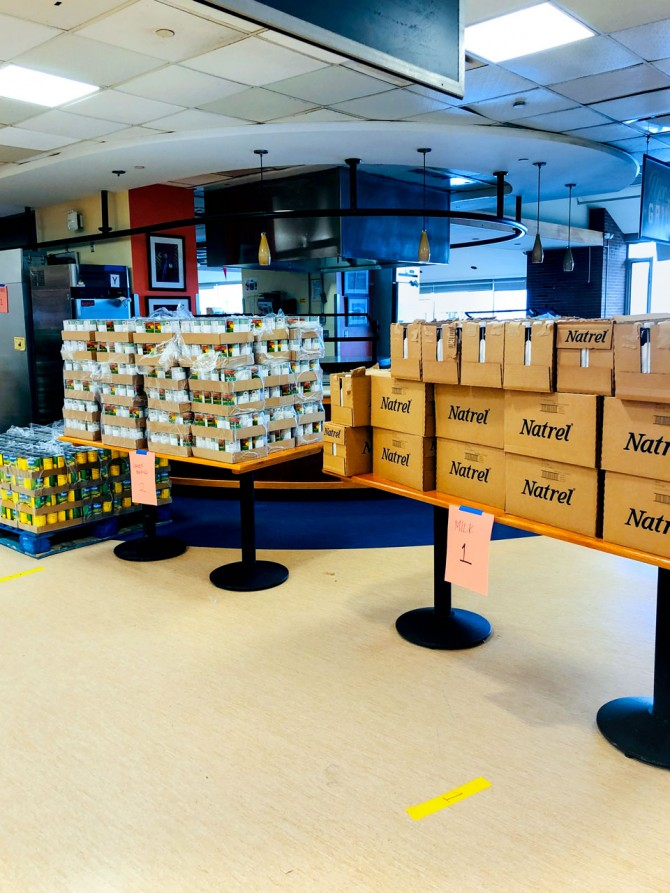 Boxes of food at Robert Purcell Marketplace Eatery