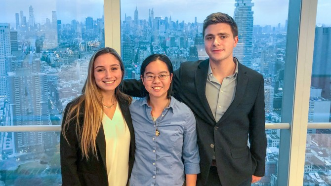 Jordyn Goldzweig '21, Alisa Lai '22 and Sam Brickman '21 at an eLab event in New York City in September 2019