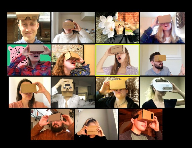 Students using cardboard VR glasses on Zoom