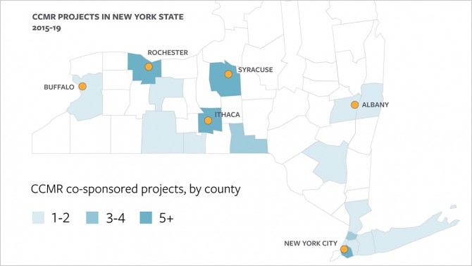 CCMR projects in New York State map