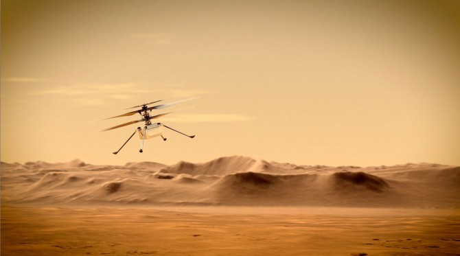 first helicopter on the red planet flies around Jezero crater