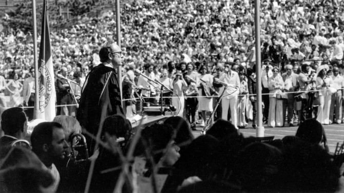 Walter LaFeber gives the Commencement Address at the 1976 graduation at Schoellkopf Stadium.