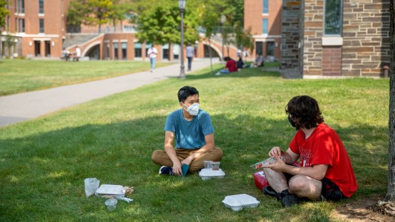 Students studying and dining on campus