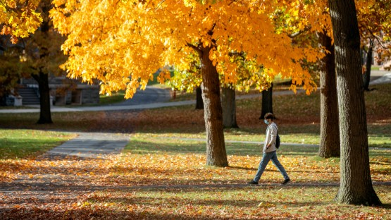 A student walks across a sun-drenched Arts Quad