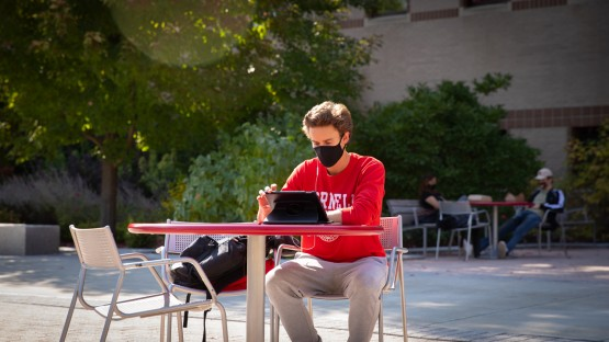 Students study outside on the Ag Quad.