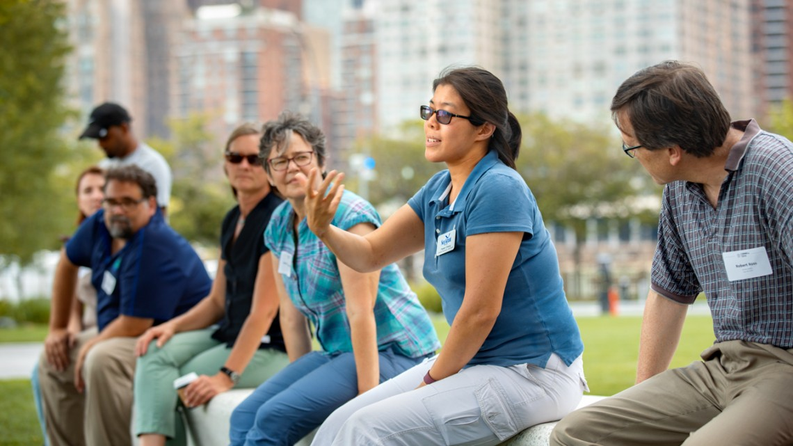 Helen Cheng leads a hands-on activity NYC