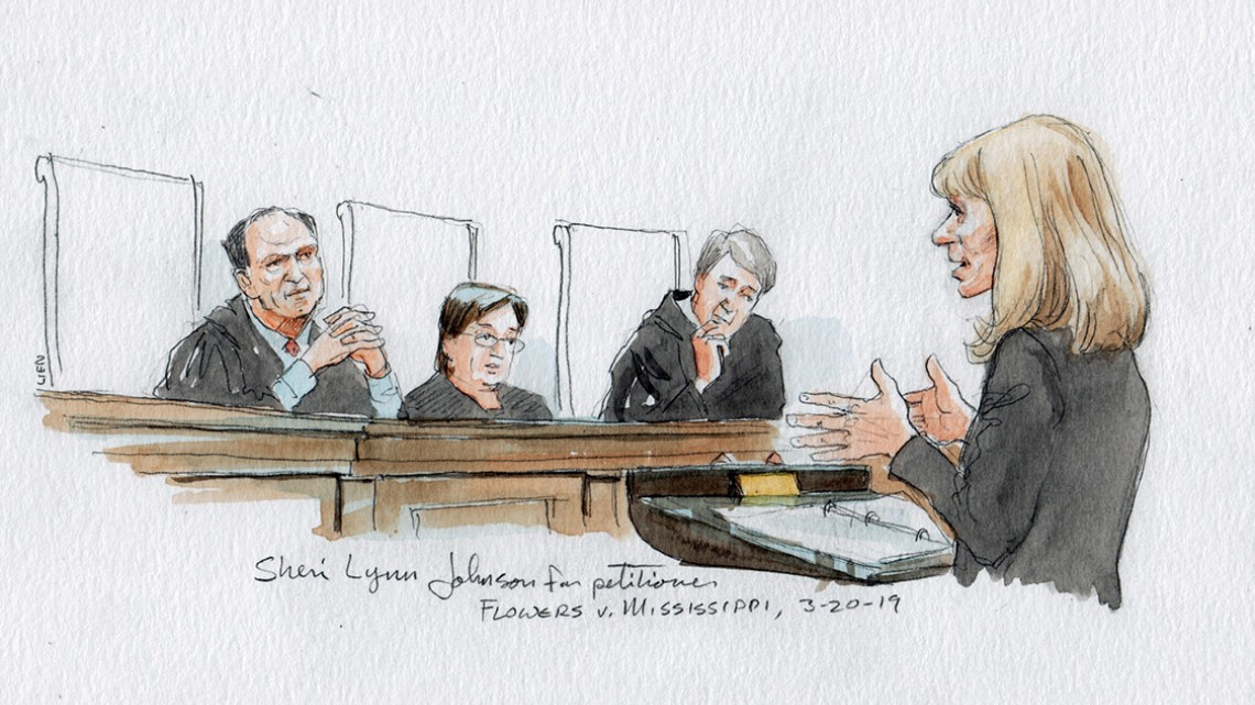 artist drawing of law professor Sheri Lynn Johnson arguing in front of the Supreme Court March 20