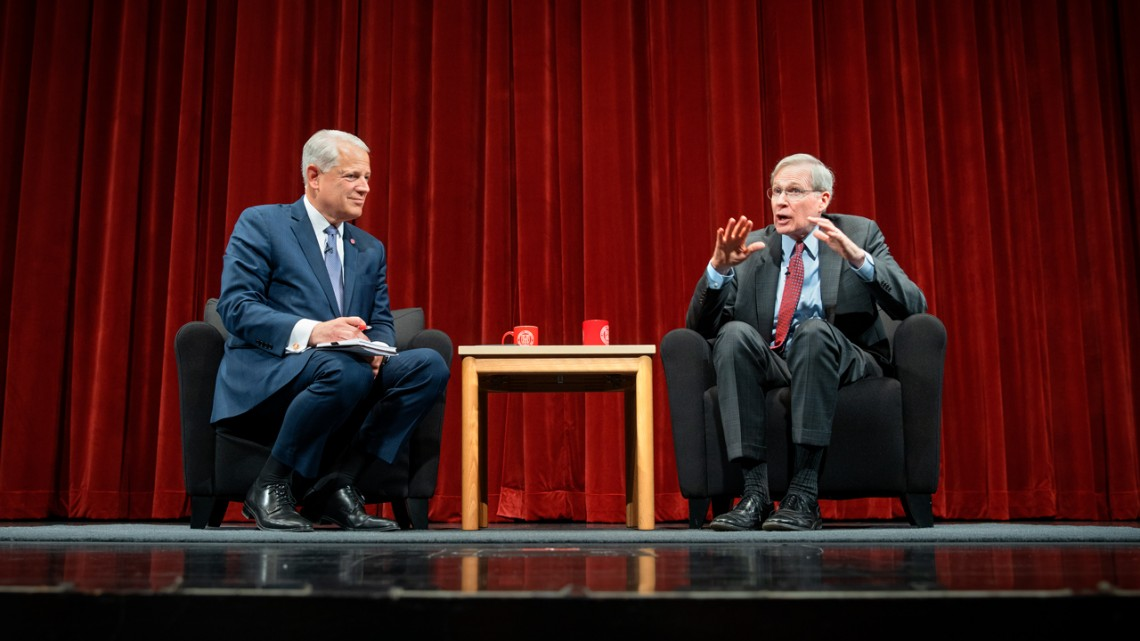 Former national security adviser Stephen J. Hadley '69, right, in conversation with former Rep. Steve Israel