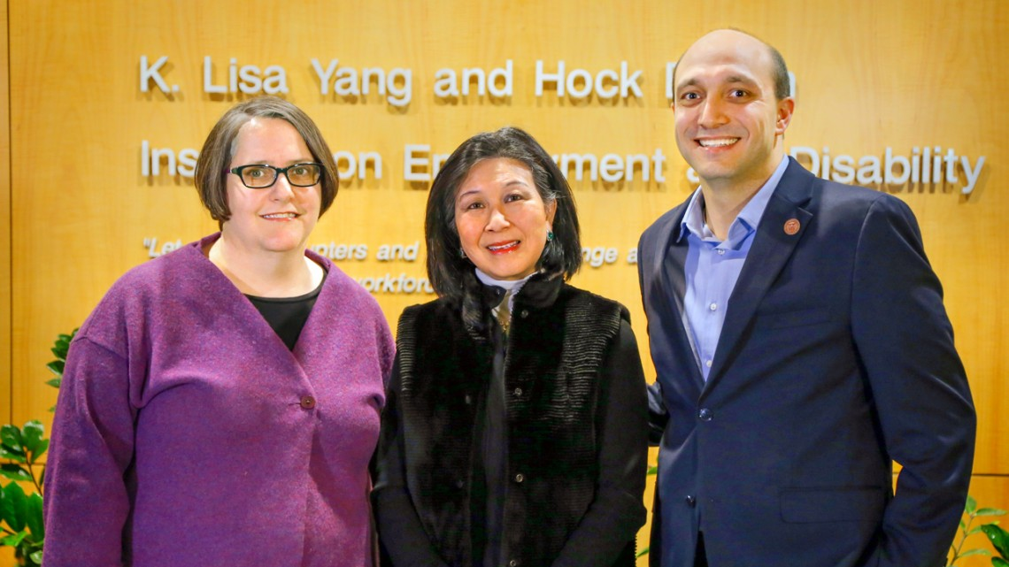 Leslie Shaw, K. Lisa Yang '74 and Hassan Enayati outside the Yang-Tan Institute on Employment and Disability.
